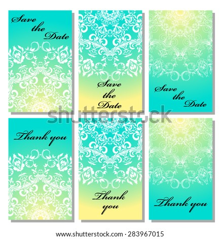 Vintage vector card templates. Can be used for Save The Date, baby shower, mothers day, valentines day, birthday cards, invitations. Template response card save the date  - stock vector