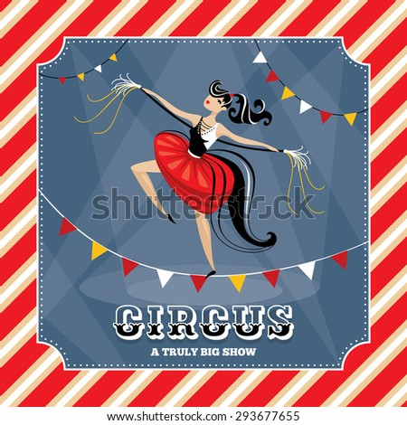 Vintage vector card with acrobat girl - stock vector