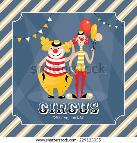 Vintage vector card with clowns - stock vector