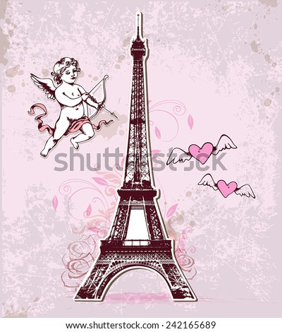 Vintage vector card with Eiffel Tower and cupid for Valentine's Day - stock vector