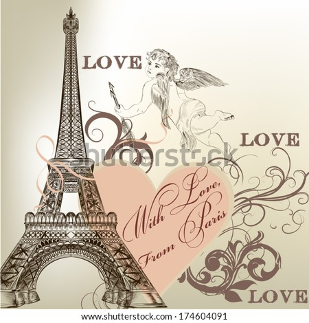 Vintage vector card with Eiffel tower for design - stock vector