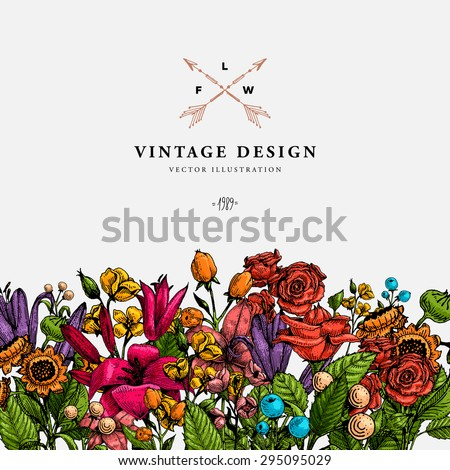 Vintage Vector Card with Engraving Flowers. Graphic Floral Style. Apple, Lilac, Peach, Sunflower, Rose Flowers. Frame with Label for Logo. - stock vector
