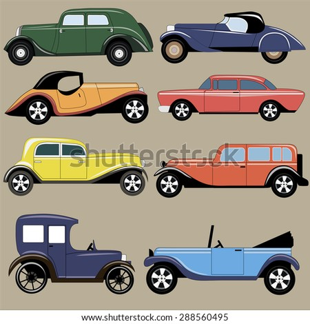 Vintage vector cars image design set for your creative and design needs.  - stock vector