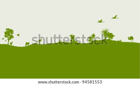 Vintage vector decoration with Australian nature - stock vector