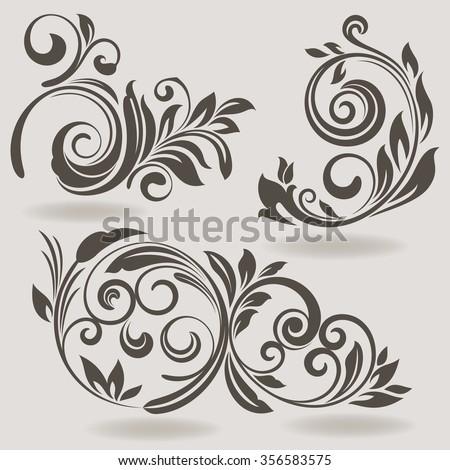 Vintage vector design elements isolated on beige background. Set 34. - stock vector