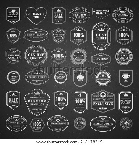 Vintage vector design elements. Retro style chalkboard typographic labels, tags, badges, stamps, arrows and emblems set.  - stock vector