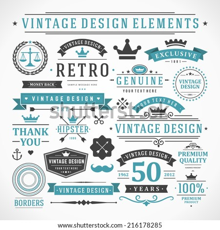 Vintage vector design elements. Retro style typographic, flourishes and calligraphic objects.Labels, ribbons, symbols, tags, badges, stamps, arrows and emblems set.  - stock vector