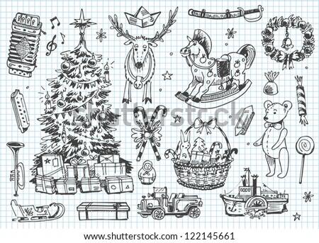 Vintage vector doodles. Christmas, winter - stock vector