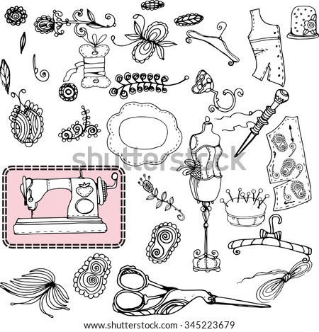 Vintage vector dummy, tailor's tools - scissors, measuring tape, mannequin, etc. Sewing and  embroidery elements. - stock vector
