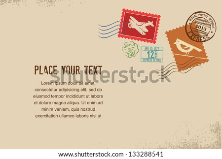 Vintage vector envelope with rubber stamps - stock vector