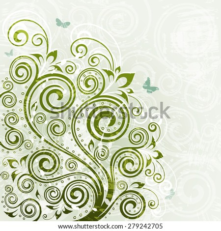 Vintage vector floral backdrop. - stock vector