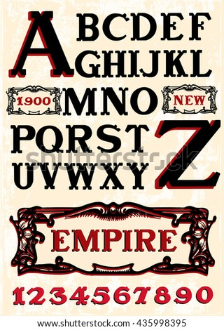 Vintage Vector Font - stock vector