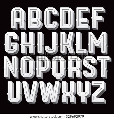 Vintage vector font. Retro type for titles and poser design. Black and white alphabet with volume letters. - stock vector
