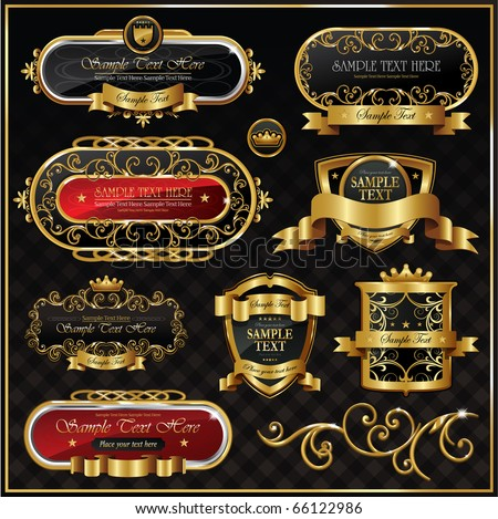 Vintage vector gold frame on black background - stock vector