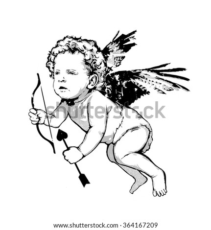 Vintage vector illustratio - Angel or cupid isolated - stock vector