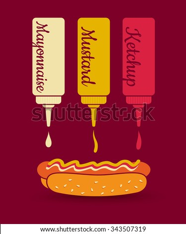 Vintage vector illustration of a hot dog and sauces. Ketchup, mayonnaise and mustard. Fast food. - stock vector