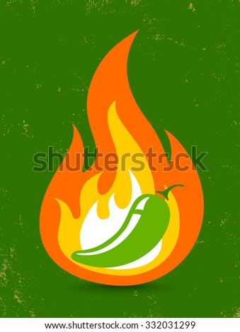 Vintage vector illustration of a hot jalapeno pepper in fire