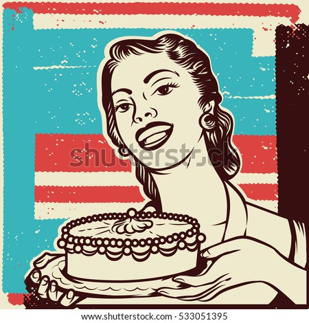 Vintage vector illustration of beauty woman housewife serving cake. Woman holding a cake with textured background. Isolated artwork object. Suitable for any print and on-line media need.