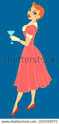 Vintage vector illustration of young woman standing with glass - stock vector