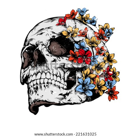 Vintage vector illustration - Skull covered with flowers - stock vector