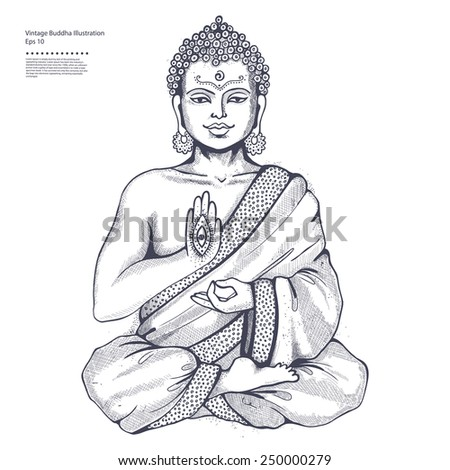Vintage vector illustration with Buddha in meditation - stock vector