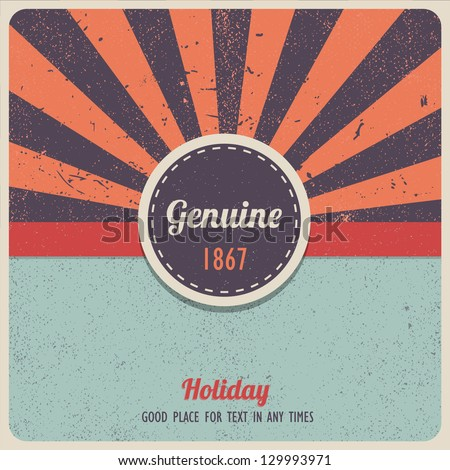 Vintage vector label on sunrays background - stock vector