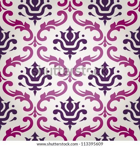 Vintage Vector Leaf Damask Brocade Vine Tapestry Wallpaper Background Pattern - stock vector