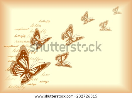 vintage vector letter paper with butterflies - stock vector