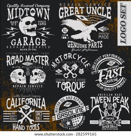 vintage vector logo set for t-shirt - stock vector