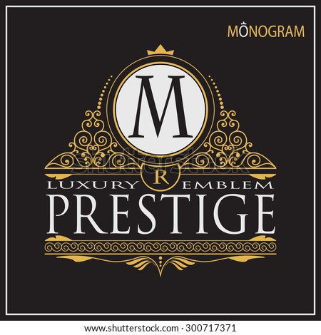 Vintage vector monogram. Elegant emblem for hotels, restaurants, bars, and public institutions. The logo on brochures, presentations, invitation cards.  - stock vector