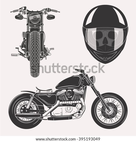 Vintage vector motorcycle set with skull in motorbike helmet front profile isolated on white background - stock vector