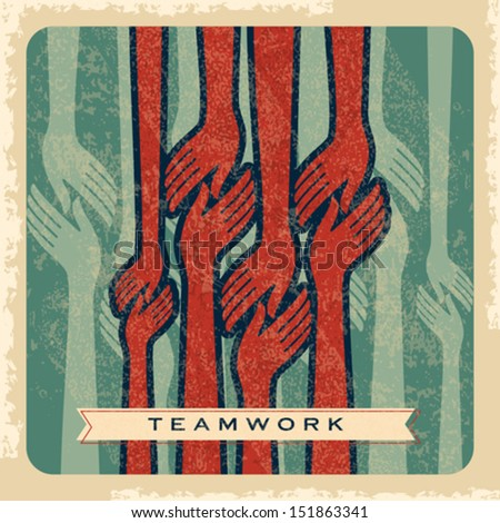 vintage vector of teamwork  - stock vector