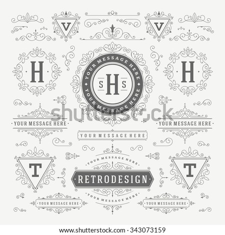 Vintage Vector Ornaments Decorations Design Elements. Flourishes calligraphic combinations retro for Invitations, Restaurant Menu, Royalty, Typography, Quotes, Greeting cards, Certificate and other.  - stock vector