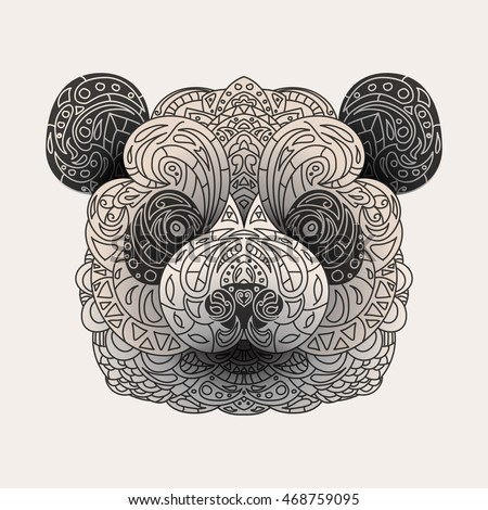 Vintage vector panda head with tribal ornaments. Traditional ethnic background, tattoo, African, Indian, Thai, spirituality, boho design. For print, posters, t-shirts, textiles, coloring book.