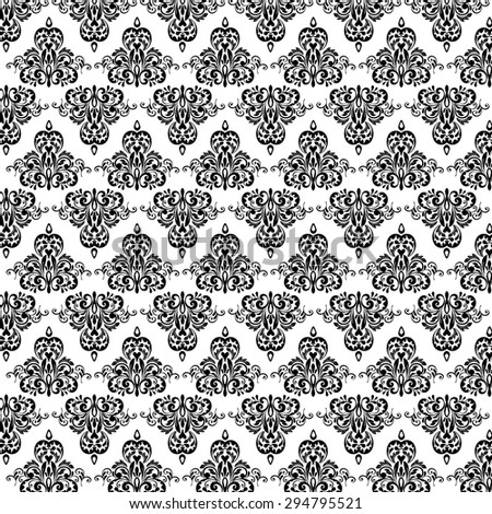 Vintage vector pattern. Hand drawn abstract background. Decorative retro banner. Can be used for banner, invitation, wedding card, Royal vector design element. Black and White - stock vector