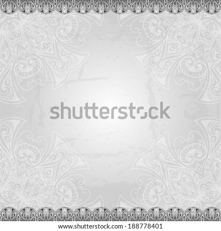 Vintage vector pattern. Hand drawn abstract background. Retro banner. Can be used as book cover, invitation, wedding card. Abstract floral border. Lace pattern. Royal design element. Silver texture. - stock vector