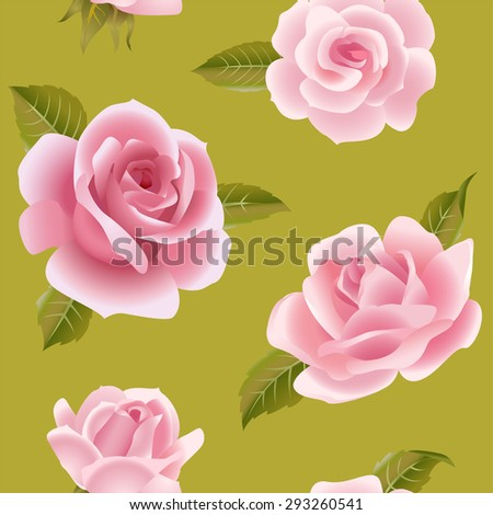 Vintage vector pink roses on green seamless pattern - stock vector