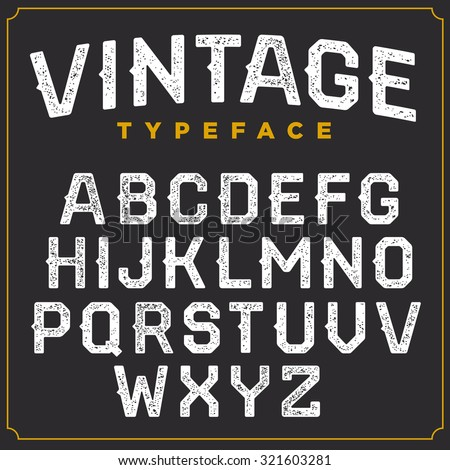 Vintage vector retro font. Stamped type, white scratched letters on grey background - stock vector