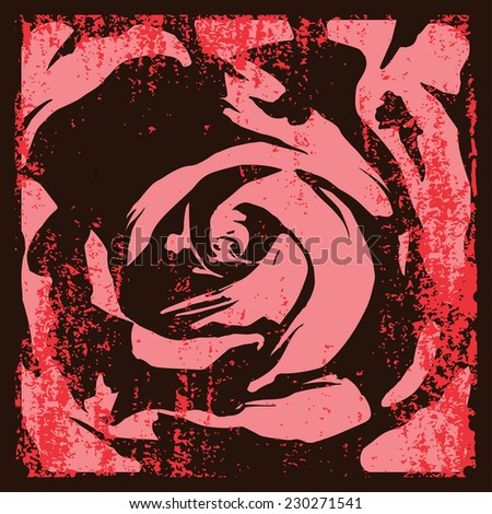 vintage vector rose abstract grunge background - stock vector