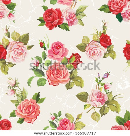 Vintage vector roses seamless pattern - stock vector