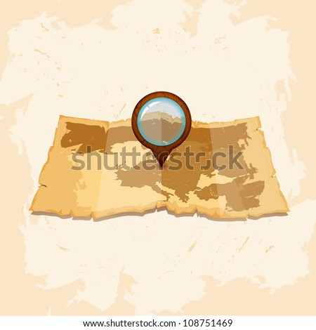 Vintage vector scrolled old paper map - stock vector