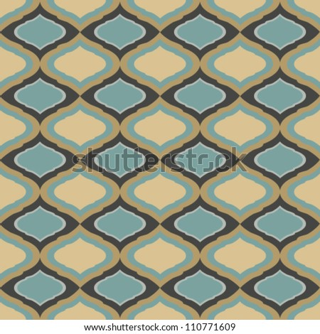 Vintage vector seamless brown and blue  pattern - stock vector