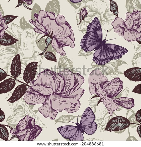 vintage vector seamless floral pattern with roses flowers and butterflies, hand drawn vector illustration - stock vector