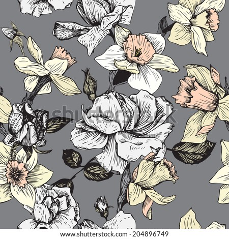 vintage vector seamless floral pattern with roses flowers and narcissus, hand drawn  illustration