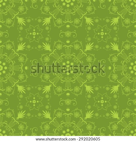 Vintage vector seamless hand drawn background with intricate floral lace motifs in green. Unique moroccan or damask arabic style seamless pattern - stock vector