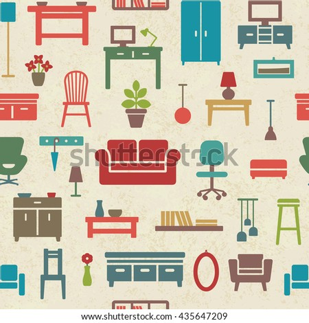 Vintage vector seamless pattern background with home furniture icons