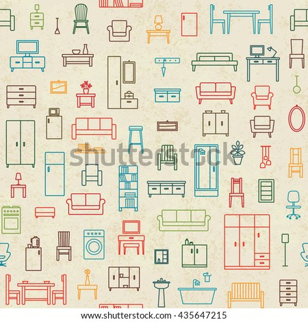 Vintage vector seamless pattern background with home furniture outline icons 1