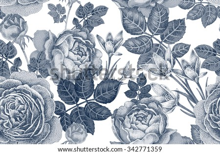 Vintage vector seamless pattern. Black and white illustration with roses and spring flowers. Floral design.  - stock vector