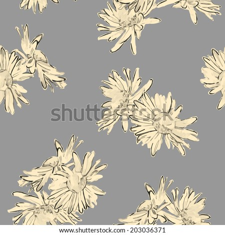 Vintage vector seamless pattern with hand drawn flowers. Retro floral wallpaper classic style background - stock vector