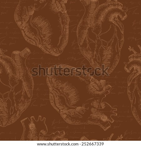 Vintage vector seamless pattern with realistic human heart. - stock vector